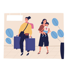 happy family going on summer vacation together vector image
