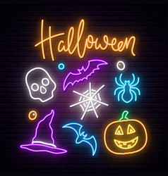 Happy halloween neon sign board collection vector