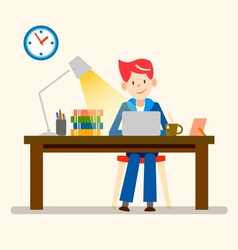 Happy people freelance working from home vector