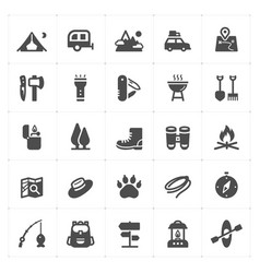 icon set - camping filled icon vector image