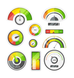 Icon set of level meters tachometer and battery vector