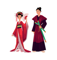 Japanese geisha and samurai in traditional kimono vector