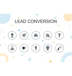 Lead conversion trendy infographic template thin vector