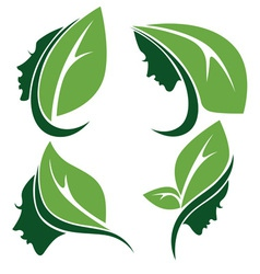 leaves and heads vector image