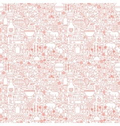 Line BBQ White Seamless Pattern vector