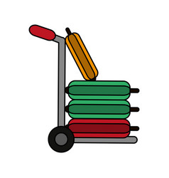 Luggage cart and travel suitcase icon image vector