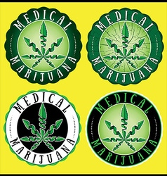 Medical Cannabis Green leaf Design Stamps vector image