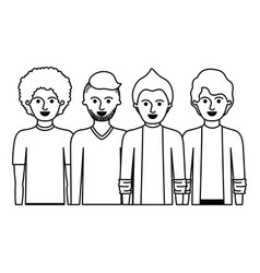 men in half body with casual clothes with short vector image