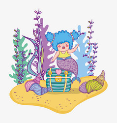 Mermaid woman in the coffer with shells and vector