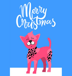 Merry christmas postcard with chinese crested dog vector
