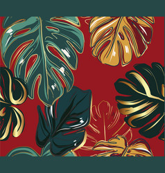 Monstera leaves greenery gold luxury seamless vector