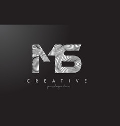 Ms m s letter logo with zebra lines texture vector