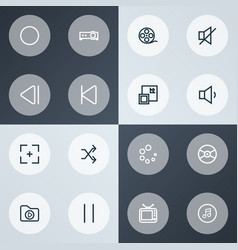 multimedia icons line style set with film reel vector image