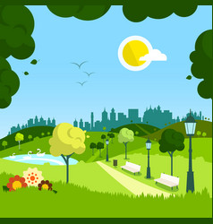 Nature empty landscape with city on background vector