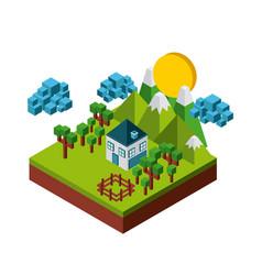 nature in pixels design vector image