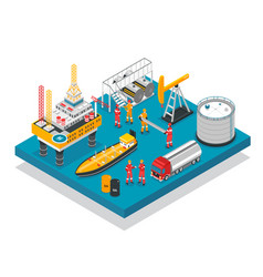 Oil gas platform isometric vector