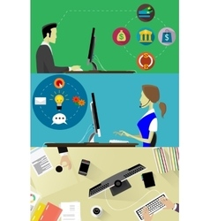 Online business banners set with online banking vector image