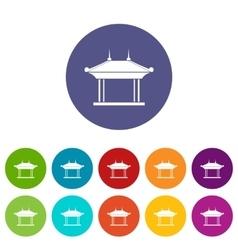 Pagoda set icons vector