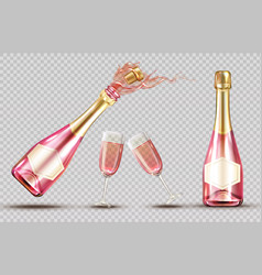 pink champagne explosion bottle and wineglass set vector image
