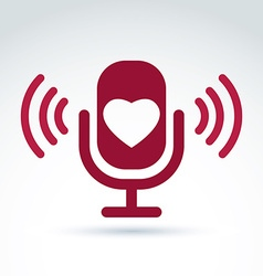 Red microphone with love symbol broadcas vector
