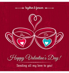 red valentine card with two cup of hot drink vector image