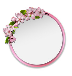 Round frame with sakura blossom vector