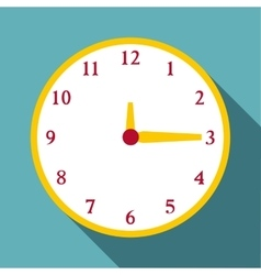 Round wall clock icon flat style vector image