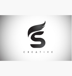 S letter wings logo design with black bird fly vector