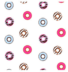 seamless pattern with glazed donuts cute sweet vector image