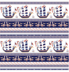 Seamless pattern with greek pattern vector