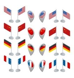 Set flags and GPS location symbol USA China vector image