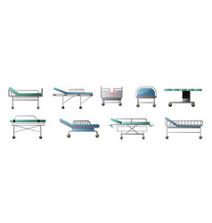 Set modern orthopedic bed with wheel in city vector