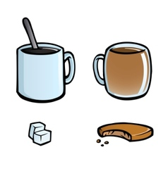 Set of hot drinks icons vector