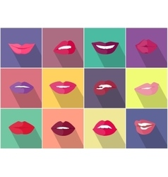 Set of Lips with Expression Emotions vector image