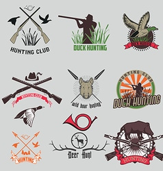 Set of the hunting labels and badges vector