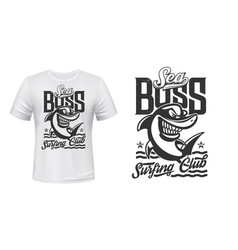 shark t-shirt print mockup surfing club waves vector image