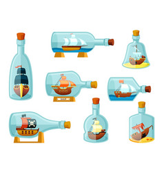 ships in bottles set models sailing ships vector image