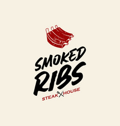 Simple ribs barbecue logo vector