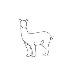 Single one line drawing adorable alpaca vector