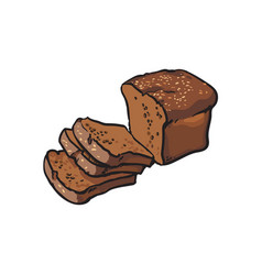 Sketch dark brown sliced bread isolated vector