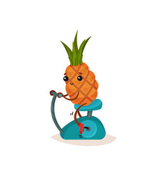 smiling pineapple on stationary bicycle funny vector image