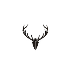 Spear stag deer buck antler arrowhead hunting logo vector