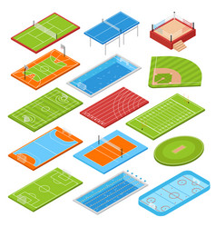 Sport fields isometric set vector