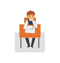 student sitting at desk in classroom schoolboy vector image