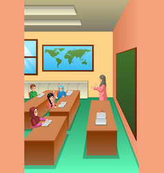 Students in classroom vector
