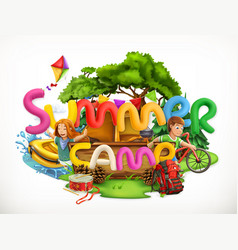 Summer camp camping and adventure summer holiday vector