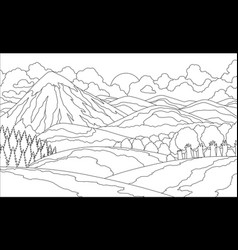 summer mountain landscape coloring book valley vector image