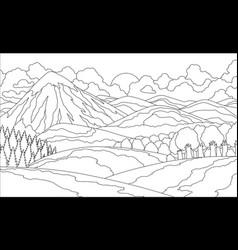summer mountain landscape coloring book valley vector image