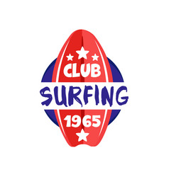 surfing club logo estd 1965 retro badge for surf vector image