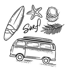 surfing sea travel relax hand drawn vector image